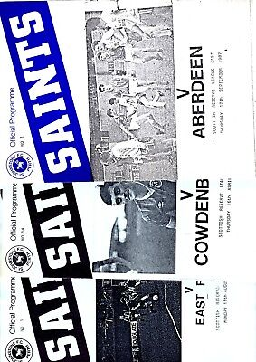3 x SCOTTISH RESERVE LEAGUE EAST Programmes - St Johnstone 1986 - 1987 Listed 2