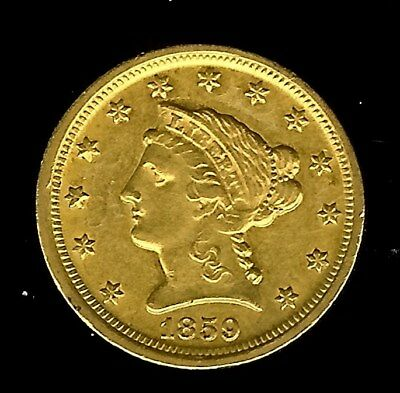 1859-D Liberty Head $2.5 Gold  Uncirculated Only 2,244 Minted! Very Rare!