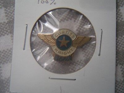 """Scarce  Early  WWII  Curtiss-Wright  """"100%""""  Lapel Hat  Wings Pin Badge  vintage"""