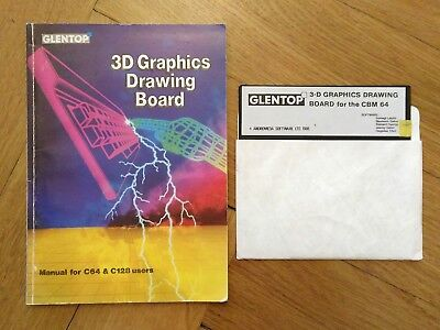 3-D Graphics Drawing Board for the CBM 64, von Glentop mit Manual, Commodore C64