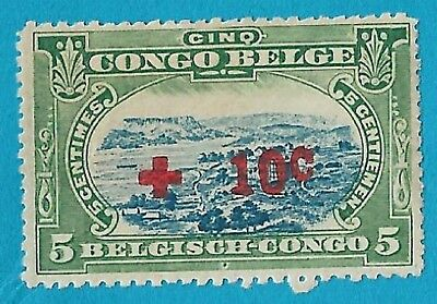 + 1918 Belgian Congo Surcharged Port Matadi SP Bob #B1 A29 5c+10c unused