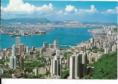 HONG KONG, iSLAND, The Harbour.. Kowloon in  the distance,  old postcard