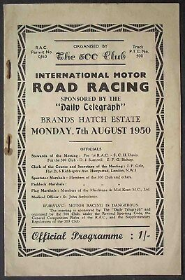 7th August 1950 Brands Hatch Programme w Stirling Moss THIRD EVER RACE AT BRANDS