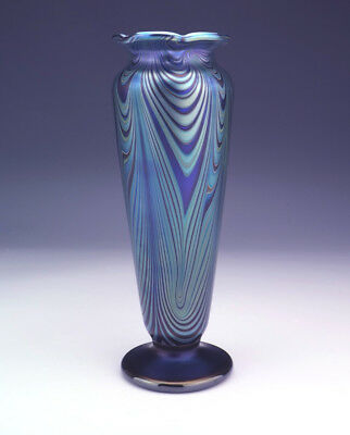 Vintage Okra - Combed Iridescent Glass Vase - Beautiful!