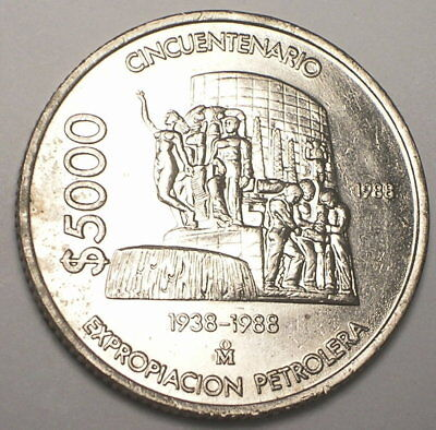 1988 Mexico Mexican Large 5000 Pesos Oil Industry Eagle Snake Coin XF Debris