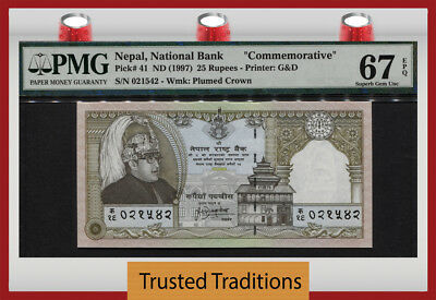 "Tt Pk 41 1997 Nepal 25 Rupees ""king Bikram Commemorative"" Pmg 67 Epq Only Gem!"