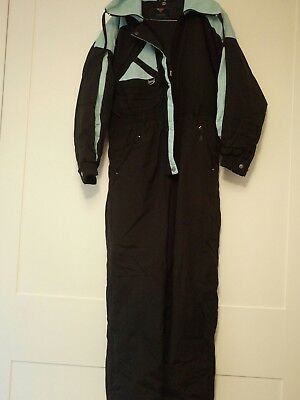 Ladies Rodeo Black and Light Blue All In One Ski Suit Size 14