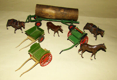 early Britains lead Farm horse drawn pieces - Gig, Milk Cart, Log carrier etc.