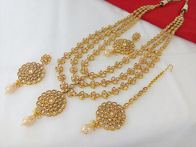 Indian Jewelry Antique Long Necklace Bollywood Ethnic Gold Plated Traditional 14