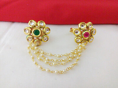 Indian Jewelry Antique Double Ring Bollywood Ethnic Gold Plated Traditional