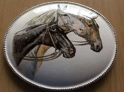 A Lovely OVAL CERAMIC PLAQUE With HORSES
