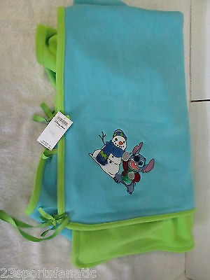 Disney Store Exclusive Stitch And Snowman Throw Blanket