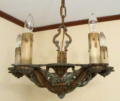 Antique 5 Light Polychrome Chandelier Candelabra Ceiling Fixture Art Deco Signed