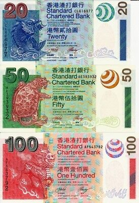 Standard Chartered Bank Hong Kong  $20,50,100 2003   Choice UNC  3 pcs