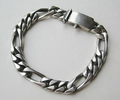 Vtg Men's Heavy Mexican Sterling Silver Rope Twist Chain Link ID Bracelet 53g