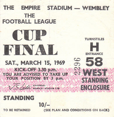 SWINDON TOWN v ARSENAL 15/3/69. LEAGUE CUP FINALTICKET.