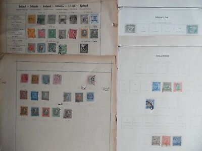 42 x Iceland Stamps 1875-1932 on Four Old Album Pages