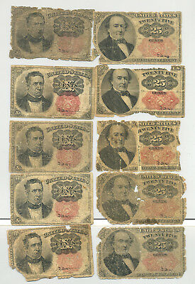 A group lot of ten circulated 10 and 25 cent fractional banknotes