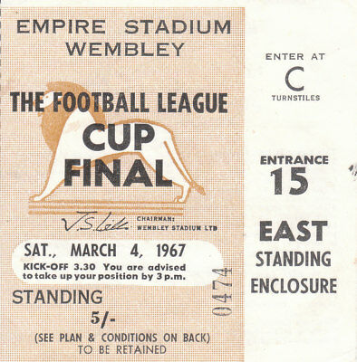 QUEENS PARK RANGERS v WEST BROMWICH ALBION 4/3/67. LEAGUE CUP FINAL. TICKET