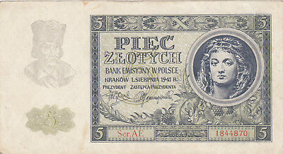 5 Zlotych Very Fine+ Banknote From German Occupied Poland 1941!pick-101!!