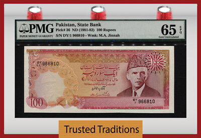 Tt Pk 36 Nd (1981-82) Pakistan 100 Rupees Pmg 65 Epq Gem Only One Certified!!!