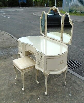 French Louis Style Triple Mirror Dressing Table & Stool     Delivery Available