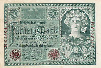 50 Mark Very Fine Crispy Banknote From Germany 1920!pick-68