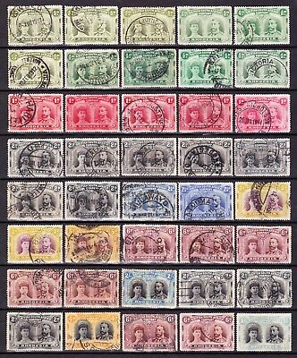 Rhodesia1910-14 CLEANUSED COLLECTION(40)TO 2/-,INC SHADES+PERF15+DATED POSTMARKS