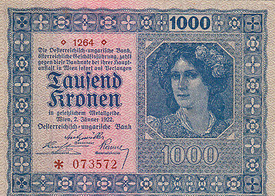 1000 Kronen Ef-Aunc Banknote From Austro-Hungary 1922 Pick-78