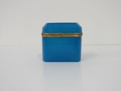 French Opaline Glass Jewelry Casket Blue Gold Gilt Metal nr Antique Art Box