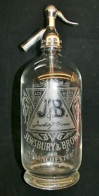 "Vintage ""J&B Jewsbury & Brown Ltd, Manchester"" Etched Glass Soda Syphon"