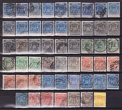 Rhodesia1892-5 CLEAN USED COLLECTION(52)TO 5/-,SHADES/WATERMARKS+DATED POSTMARKS