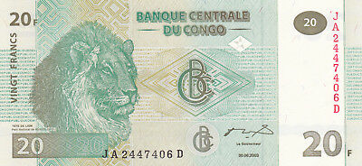 20 Francs Unc Banknote From Congo 2003!pick-94