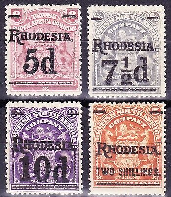 Rhodesia1909-11 SURGHARGE SET SG 114-18 FRESH MN OG Cat £50+