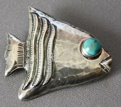 BARRERA, mexico Sterling Pin of Fish with Turquoise Eye
