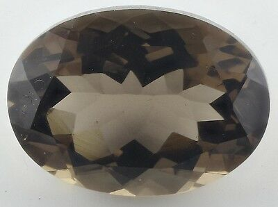 LARGE 18x13mm OVAL-FACET NATURAL AFRICAN SMOKEY QUARTZ GEMSTONE