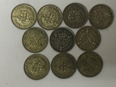 Silver threepence 3d Various dates three pence coins Scrap or collectable 14 Grm