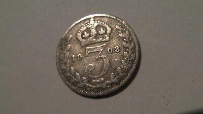 Antique Edward Vii 1903 Silver Three Pence Coin
