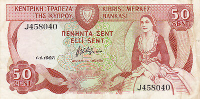 50 Cents Vf Banknote From Cyprus 1987!pick-52