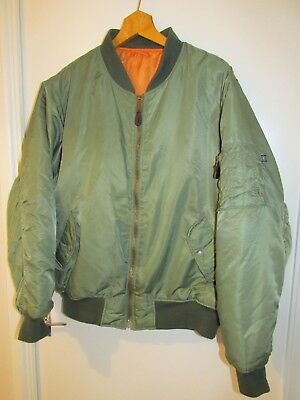 Usaf Flyers Jacket ~Bomber~ Type Ma-1~Green~Reversible~Large~ T Reed Industries