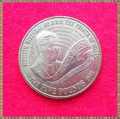 1998 ELIZABETH II COMMEMORATIVE £5 FIVE POUNDS COIN. Prince Charles 50th.