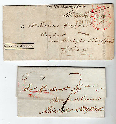 Gb Postal History Bishops Stortford 1814 And 1823 Wrappers - Penny Post