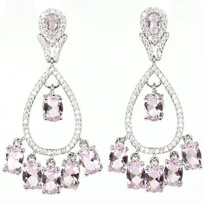 Stunning Pink Kunzite White CZ SheCrown Wedding Silver Earrings