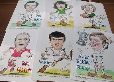 Leeds United Collection 10 Revie Players Caricature Plus 3 Greetings Cards