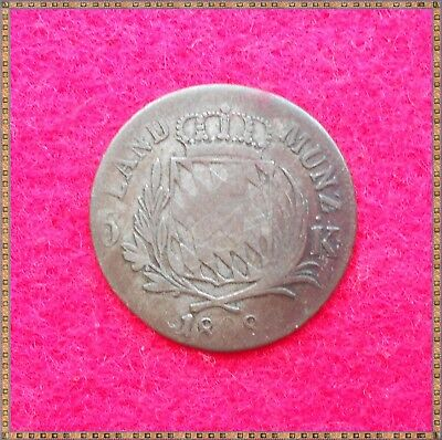 1808 SILVER 6 KREUZER COIN FROM BAVARIA - GERMANY. 21mm dia, 2.6 gms.