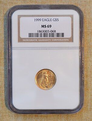 1999 $5 1/10 oz. FINE GOLD COIN - NGC SLABBED - MS69