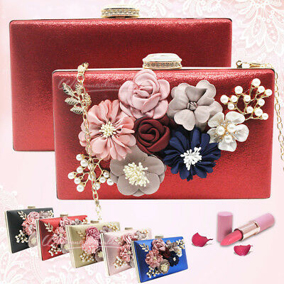 Ladies' Flower Sequins Rhinestones Decorated Evening Handbags Beaded Clutch Bags