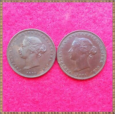 1870 & 1871 2 x VICTORIA ONE TWENTY SIXTH OF A SHILLING COINS FROM JERSEY. nice.