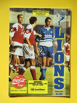 MILLWALL v ARSENAL LEAGUE CUP 92/93