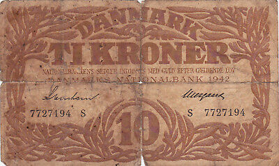 10 Kroner Vg Banknote From German Occupied Denmark 1942!pick-31